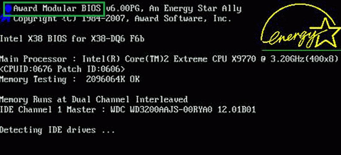 Версия BIOS при загрузке компьютера